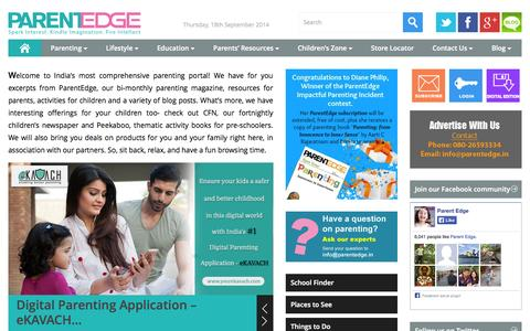 Screenshot of Home Page parentedge.in - Parenting Magazine-India-Child rearing-Positive parenting-Tips to parents - captured Sept. 19, 2014