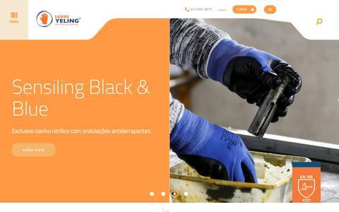 Screenshot of Home Page yeling.com.br - Luvas Yelling - Nas mãos de quem faz - captured Nov. 11, 2018