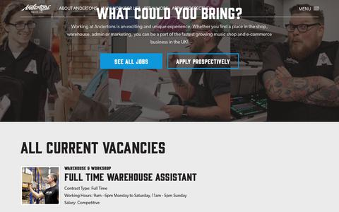 Screenshot of Jobs Page andertons.co.uk - Jobs at Andertons Music Co. - Apply to work at Andertons Music Co. - captured Oct. 3, 2018