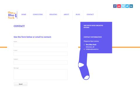 Screenshot of Contact Page onebluesock.ca - CONTACT - One Blue Sock - One Blue Sock - captured Oct. 26, 2014