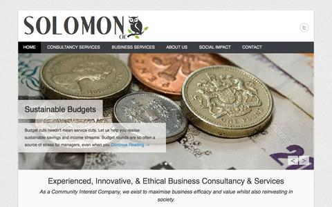 Screenshot of Home Page Menu Page solomoncic.com - Solomon CIC » Passionate about delivering excellent, creative solutions - captured Sept. 30, 2014