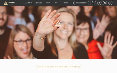Screenshot of Jobs Page everestescrow.com - Everest EscrowCareers - Everest Escrow - captured May 25, 2018