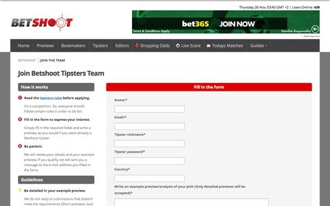 Screenshot of Signup Page betshoot.com - Join the Betshoot tipsters team - captured Nov. 25, 2015