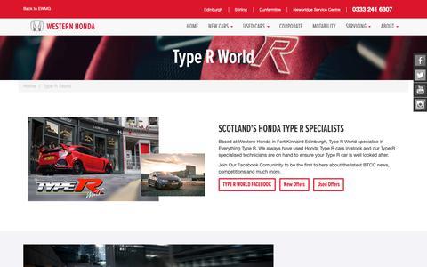 Screenshot of easternwestern.co.uk - Type R World | Western Honda | Edinburgh, Dunfermline and Stirling - captured Oct. 25, 2018