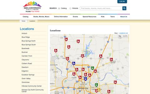Screenshot of Locations Page mymcpl.org - Locations | mymcpl.org - Mid-Continent Public Library - captured Oct. 27, 2014