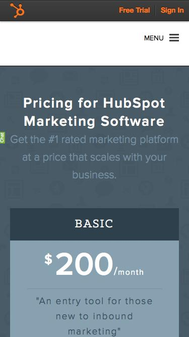 Screenshot of Pricing Page  hubspot.com - Product Pricing | HubSpot Software & Services