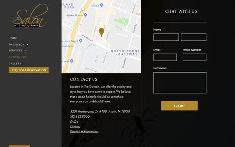 Screenshot of Contact Page salonatthedomain.com - The Salon at The Domain - captured Oct. 9, 2018
