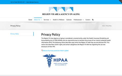 Screenshot of Privacy Page region7aaa.org - Privacy Policy – Region 7 Area Agency on Aging - captured Oct. 18, 2018