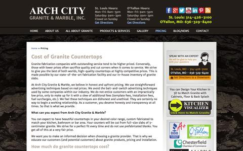Screenshot of Pricing Page archcitygranite.com - What is the Cost of Marble or Granite Countertops in St.Louis ? - captured Oct. 4, 2014