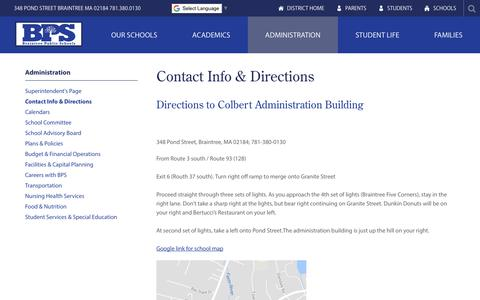 Screenshot of Contact Page Maps & Directions Page braintreeschools.org - Contact Info & Directions - Braintree Public Schools - captured March 17, 2018