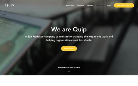 Screenshot of About Page quip.com - Quip - About Us - captured April 5, 2016