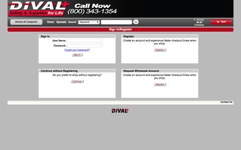 Screenshot of Login Page divalsafety.com - Storefront Commerce Login - captured Feb. 9, 2016