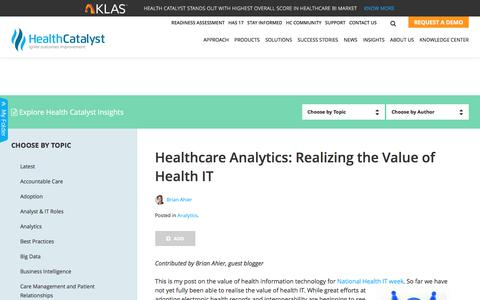 What is the Value of Health IT? Hint: Health Analytics is the New ROI