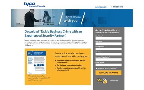 Screenshot of Landing Page tycois.com - Download Tackle Business Crime with an Experienced Security Partner | TycoIS - captured June 11, 2016