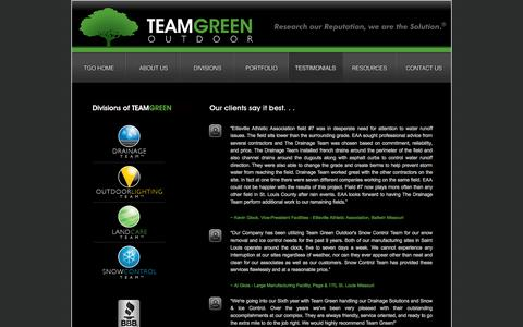 Screenshot of Testimonials Page teamgreenoutdoor.com - Testimonials | St Louis Missouri Drainage Lighting Land Care Snow Ice Solutions - captured Oct. 27, 2014