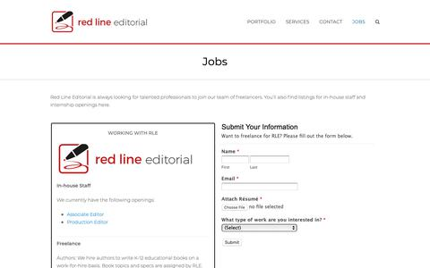 Screenshot of Jobs Page reditorial.com - Jobs - Red Line Editorial - captured Oct. 20, 2018
