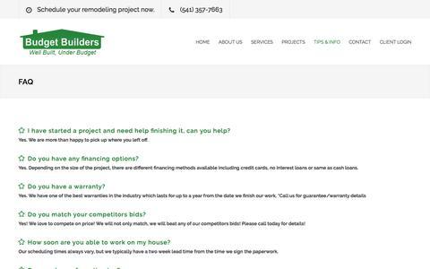 Screenshot of FAQ Page budgetbuilders.com - Budget Builders   FAQ - captured June 3, 2017