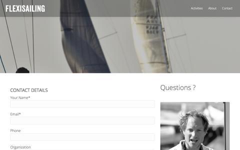 Screenshot of FAQ Page flexisailing.be - Contact - Flexi Sailing - captured Oct. 4, 2017