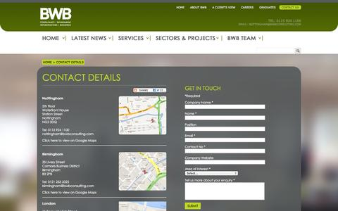 Screenshot of Contact Page bwbconsulting.com - Contact Details - captured Oct. 5, 2014