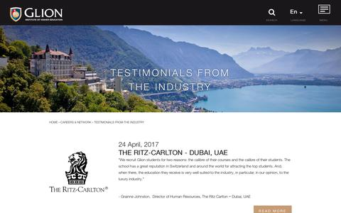 Screenshot of Testimonials Page glion.edu - Testimonials | Glion, Swiss Hospitality Management School - captured Aug. 6, 2017