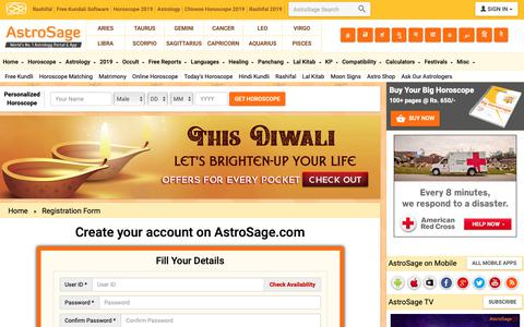 Screenshot of Signup Page astrosage.com - Vedic Astrology Portal - Free Chart, Horoscope, Match Making, KP System, Lalkitab         Remedies - captured Nov. 7, 2018