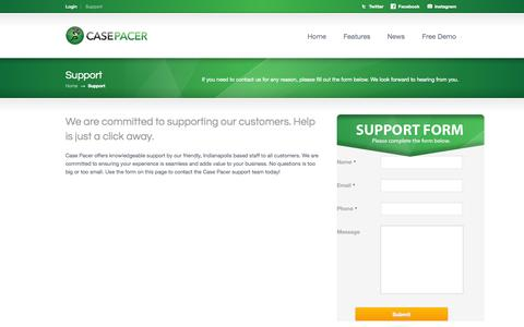 Screenshot of Contact Page Support Page casepacer.com - Support «  Case Pacer - captured Oct. 23, 2014