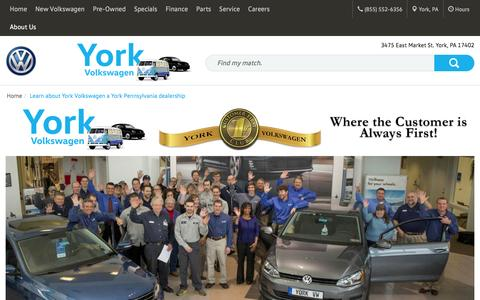 Screenshot of About Page yorkvw.com - About York Volkswagen a York PA dealership - captured Feb. 13, 2016