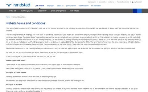 Screenshot of Terms Page randstad.co.uk - terms and conditions | Randstad.co.uk - captured Nov. 2, 2014