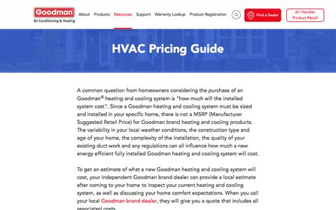 Screenshot of Pricing Page goodmanmfg.com - Goodman Air Conditioner and Furnace Pricing Guide - captured May 30, 2017