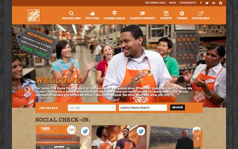 Screenshot of Jobs Page homedepot.com - Home Depot Careers - captured May 27, 2016