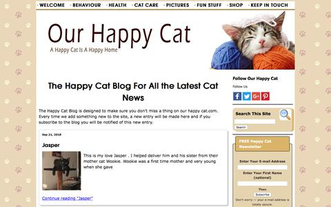 Screenshot of Blog our-happy-cat.com - The Happy Cat Blog For All the Latest Cat News - captured Sept. 23, 2018
