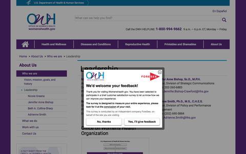 Screenshot of Team Page womenshealth.gov - Leadership | womenshealth.gov - captured Sept. 22, 2018