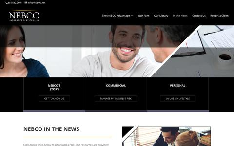 Screenshot of Press Page nebco.net - In the News | NEBCO Insurance Services - captured Oct. 20, 2017