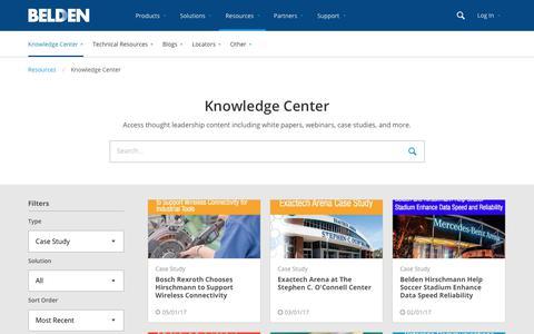 Screenshot of Case Studies Page belden.com - Knowledge Center - captured Oct. 31, 2017