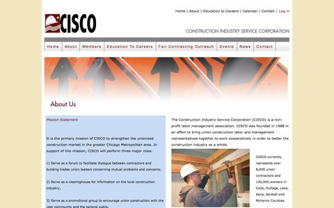 Screenshot of About Page cisco.org - CISCO    Construction Industry Service Corporation - captured Nov. 11, 2016