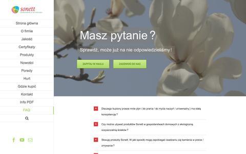 Screenshot of FAQ Page sonett.pl - FAQ - Sonett.pl - captured April 15, 2016