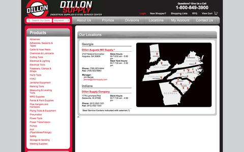 Screenshot of Locations Page dillonsupply.com - Locations | Dillon Supply Company - captured Oct. 12, 2017