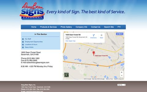Screenshot of Locations Page dougbeansigns.com - Doug Bean Signs, Inc. : Company Info : Locations & Hours - captured Feb. 9, 2016