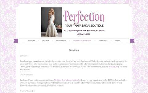 Screenshot of Services Page perfectionpromandbridal.com - Tampa Bridal   Alterations and Services   Perfection Prom & Bridal - captured Sept. 29, 2014