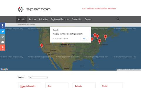 Screenshot of Locations Page sparton.com - Sparton Manufacturing Facilities - captured Oct. 19, 2018