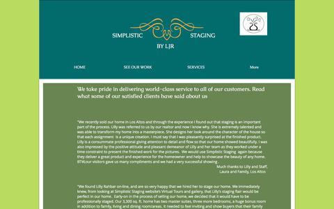 Screenshot of Testimonials Page simplisticstagingbyljr.com - simplisticstaging | TESTIMONIALS - captured June 19, 2017