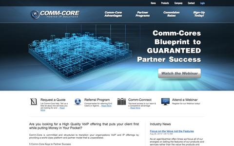 Screenshot of Home Page Privacy Page Terms Page comm-core.com - Comm-Core - captured Oct. 2, 2014