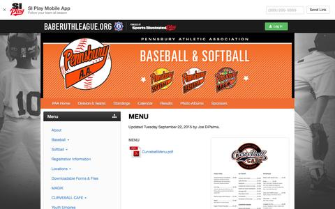 Screenshot of Menu Page paaball.com - PENNSBURY A.A. - Powered by BabeRuth - captured April 10, 2017