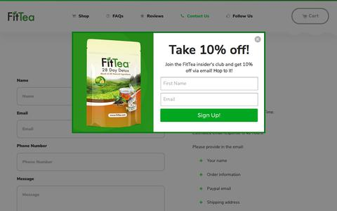 Screenshot of Contact Page fittea.com - Contact Us                      – Fit Tea - captured Oct. 18, 2017