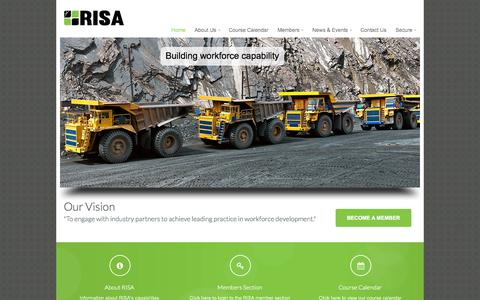 Screenshot of Home Page riskills.org - RISA – Resources Industry Skills Association - captured Oct. 6, 2014