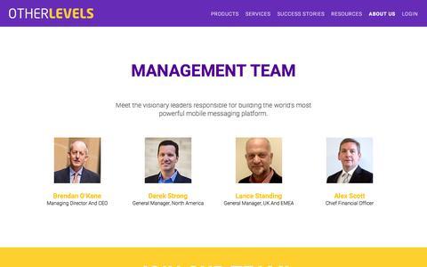 Screenshot of About Page otherlevels.com - MANAGEMENT TEAM | OtherLevels - captured Jan. 12, 2016