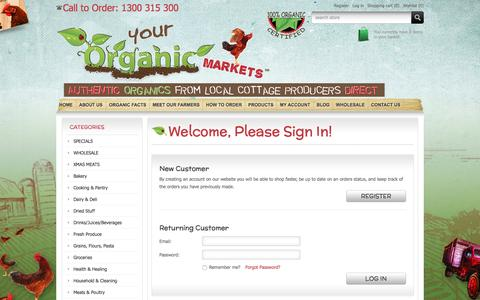 Screenshot of Login Page yourorganicmarkets.com.au - Login | Your Organic Markets - captured Dec. 18, 2016
