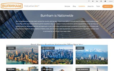 Screenshot of Locations Page burnhamnationwide.com - Permit Expediting & Code Consulting   Burnham Nationwide - captured Jan. 26, 2017