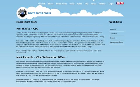 Screenshot of Team Page voxcorp.net - VoX Communications :: Management Team - captured Oct. 8, 2014