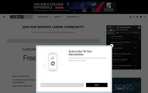 Screenshot of Signup Page worshipleader.com - Join Our Worship Leader Community! - Worship Leader - captured Dec. 8, 2019